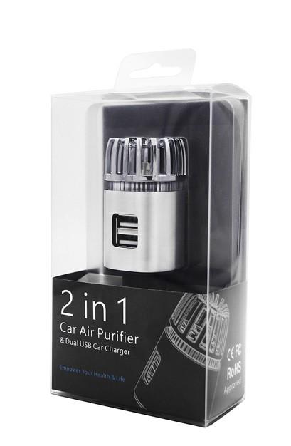 Ionizátor a čistička vzduchu do auta IONKINI JO-6291 s ozonizátorem a DUAL USB - stříbrná