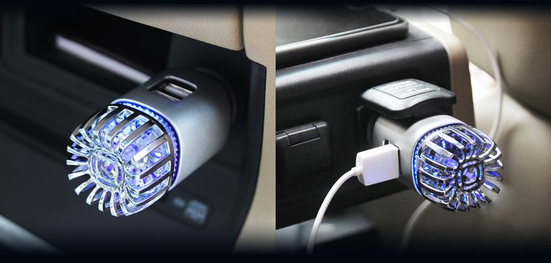 Ionizátor a čistička vzduchu do auta IONKINI JO-6291 s ozonizátorem a DUAL USB - zlatá
