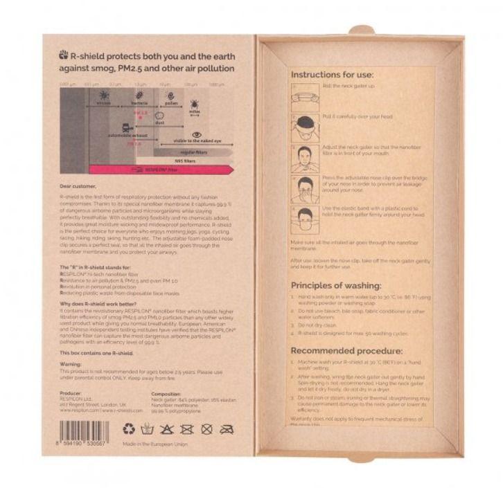 Respilon RESPIRÁTOR - Nákrčník s nanovlákenným filtrem 50 x vyprání Adapted